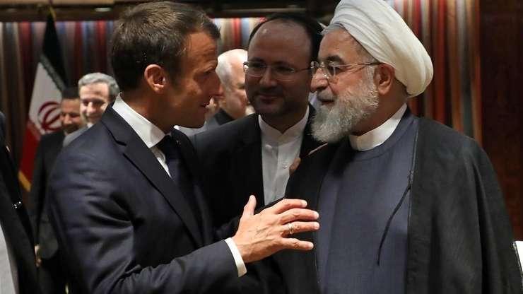 Emmanuel Macron şi Hassan Rohani la sediul ONU, 23 septembrie 2019