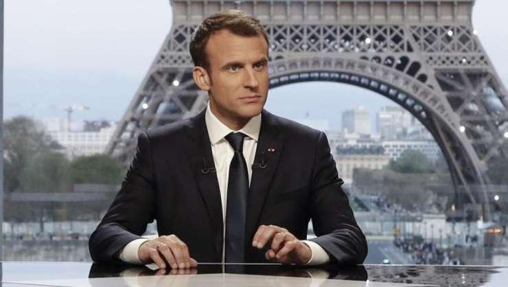 Emmanuel Macron, presedintele Frantei, pe platoul canalului BFMTV si Mediapart, 15 aprilie 2018