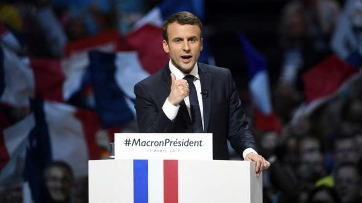 Centristul independent Emmanuel Macron, luni 17 aprilie 2017, în miting în sala polivalentà de la Bercy
