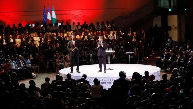 Emmanuel Macron participând la un forum economic la Lagos, Nigeria, 4 iulie 2018