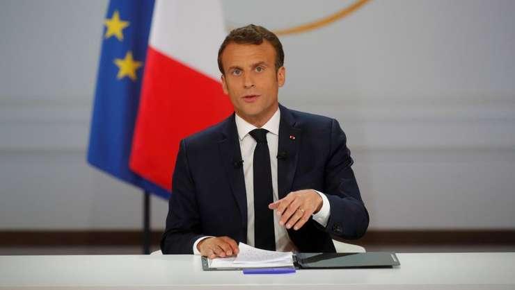 Presedintele francez Emmanuel Macron la palatul Elusée, 25 aprilie 2019