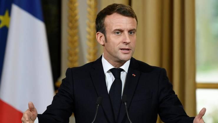 Emmanuel Macron, presedintele Frantei, dupà întâlnirea cu Jens Stoltenberg, secretarul general NATO, la Palatul Elysée, 28 noiembrie 2019