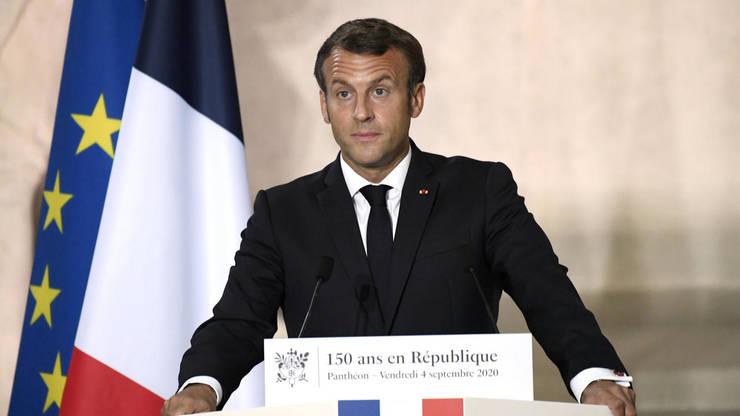 Presedintele Emmanuel Macron, sustinând un discurs la Panthéon cu ocazia a 150 de ani de la proclamarea Republicii franceze, 4 septembrie 2020.