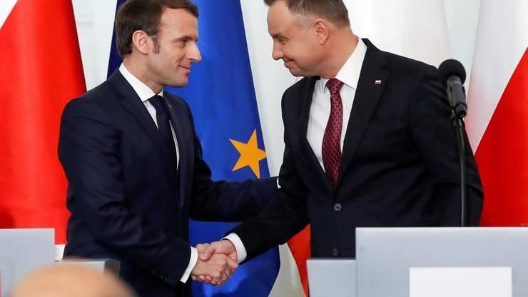 Presedintii Frantei si Poloniei, Emmanuel Macron si Andrezj Duda, la Varsovia, 3 februarie 2020