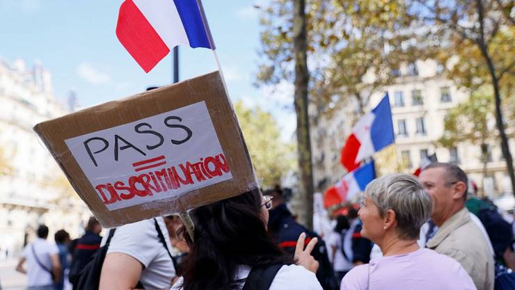 Manifestatie împotriva vaccinarii obligatorii, Paris, 11 septembrie 2021.