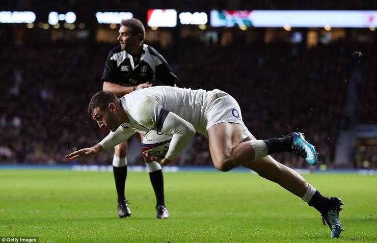 Jonny May în meciul Anglia - Țara Galilor