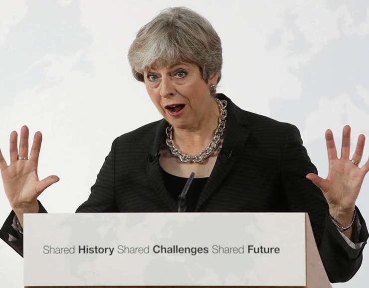 Theresa May în timpul discursului de la Florența, 22 septembrie 2017