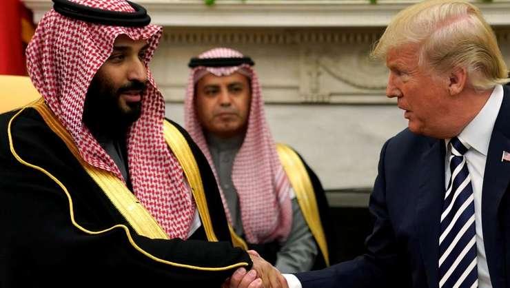 Mohamed bin Salman, printul mostenitor al Arabiei saudite, în compania presedintelui american Donald Trump la Washington, pe 20 martie 2018