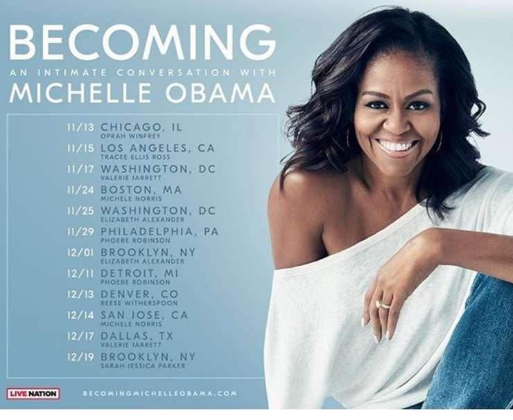 """Michelle Obama a pornit într-un turneu de promovare a cărții sale de memorii. """"Becoming"""", lansată pe 13 noiembrie, apare în 24 de limbi străine."""