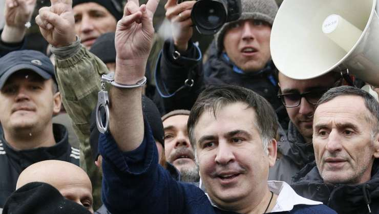 Fostul presedinte georgian Mihail Saakasvili dupa eliberarea sa, Kiev, 5 decembrie 2017