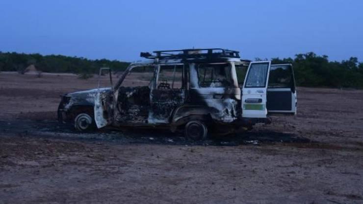Vehiculul la bordul càruia se aflau cei 6 francezi si 2 nigerieni ucisi duminicà, 9 august 2020, în parcul animalier Kouré din Niger.