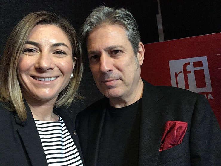 Oana Bîzgan și Nicolas Don in studioul RFI Romania