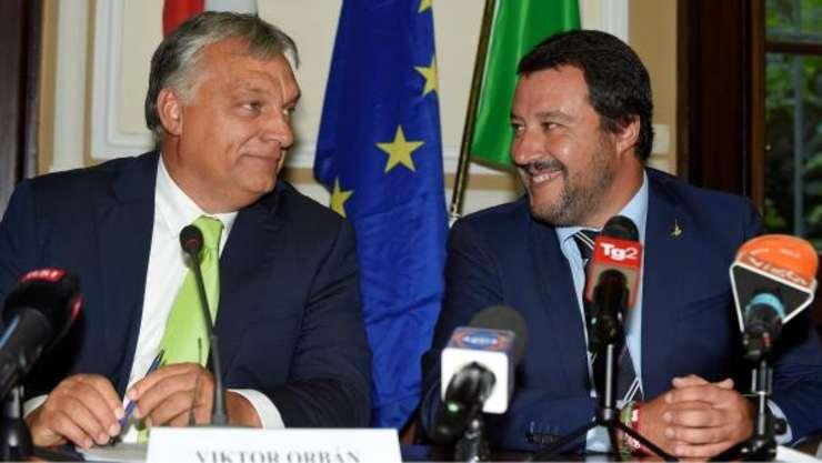 Premierul Ungariei Viktor Orban si Matteo Salvini, vice-premierul si ministrul italian de Interne, pe 28 august 2018 la Milano