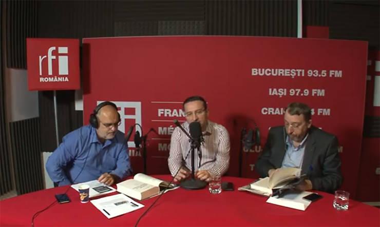 Ovidiu Nahoi, Bogdan Bucur si Adrian Niculescu in studioul de inregistrari RFI Romania