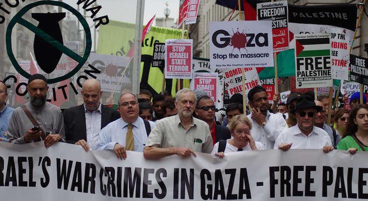 Jeremy Corbyn la o demonstrație anti-Israel și pro-palestiniană