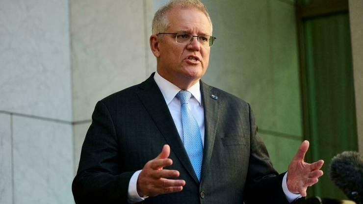 Premierul Australiei, Scott Morrison în timpul unei întâlniri cu presa, Canberra, 17 august 2021.