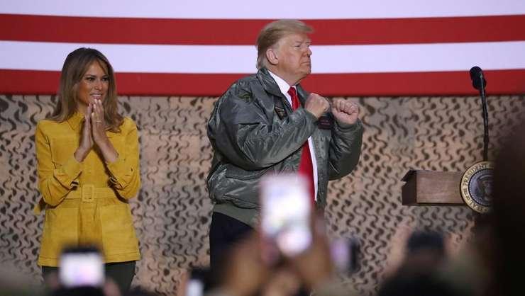 Presedintele american Donald Trump la baza aeriana Al-Asad din Irak, 26 decembrie 2018.