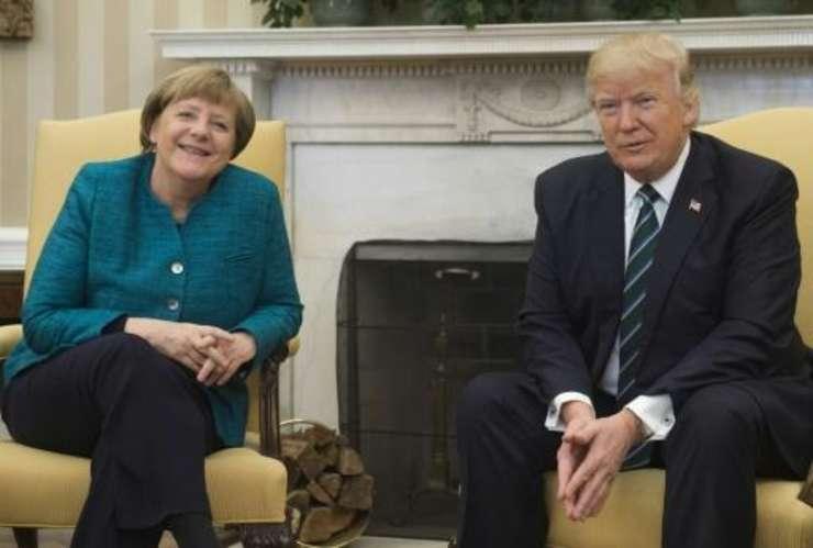 Presedintele american Donald Trump si cancelarul german Angela Merkel la Casa Alba în martie 2017