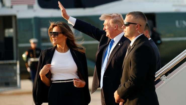 Presedintele Donald Trump si sotia Melania la imbarcarea în Air Force One cu destinatia Paris, 12 iulie 2017