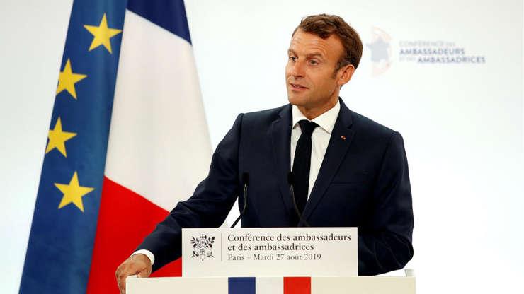 Presedintele Emmanuel Macron adresându-se ambasadorilor francezi, 27 august 2019,  Palatul Elysée.