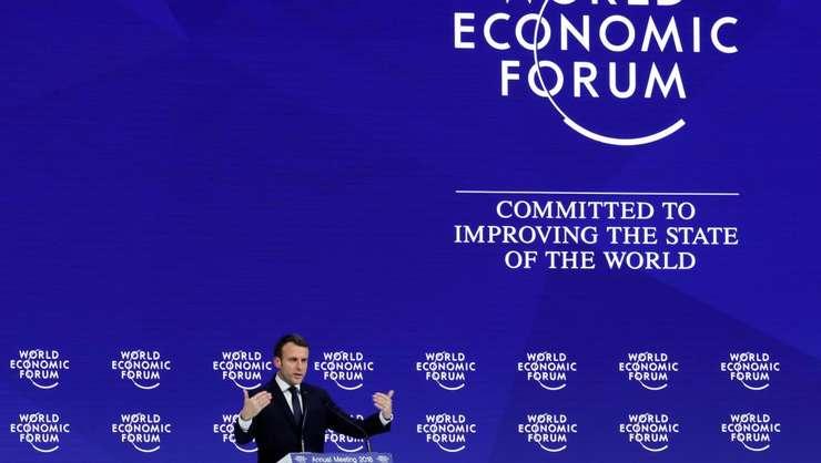 Presedintele Emmanuel Macron la Davos, 24 ianuarie 2018