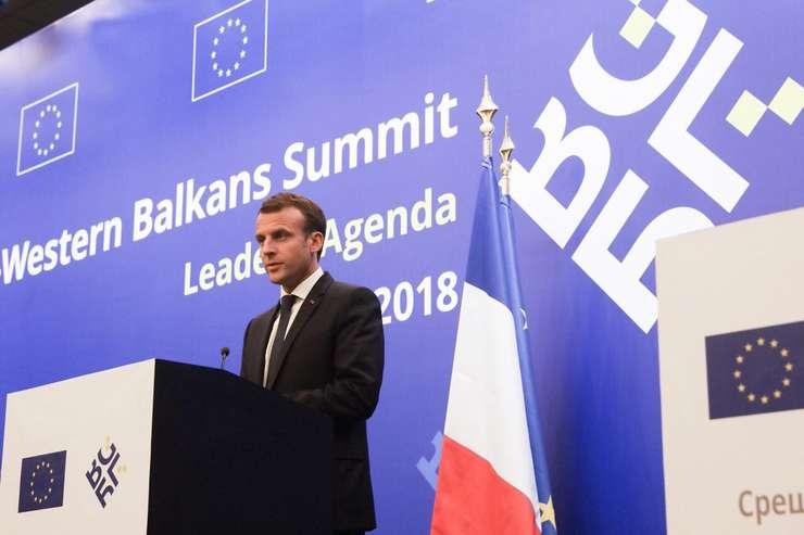 Presedintele francez Emmanuel Macron la summitul de la Sofia, 17 mai 2018