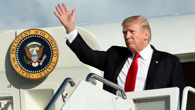 Presedintele Statelor Unite, Donald Trump pe 15 septembrie 2017 pe Aeroportul din Morristown. Un week-end de golf înaintea Adunarii Generale a Natiunilor Unite din New York.