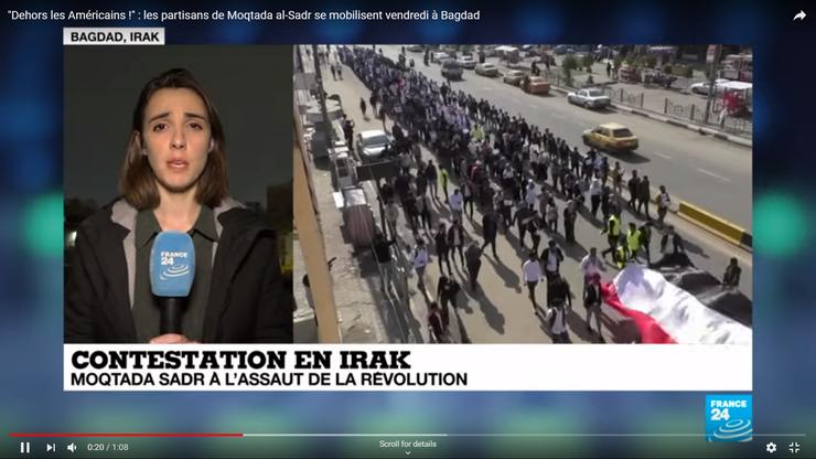 Proteste în Irak, împotriva trupelor SUA (captură France24)
