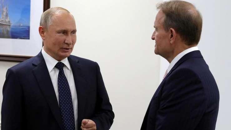 Vladimir Putin în compania deputatului ucrainean Viktor Medvedciuc, 5 septembrie 2019