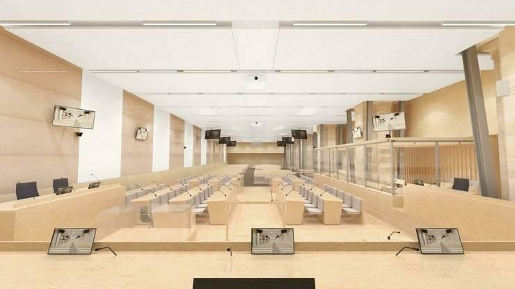 Sala de audiente pentru procesul atentatelor din noiembrie 2015, Paris, Palatul de Justitie.
