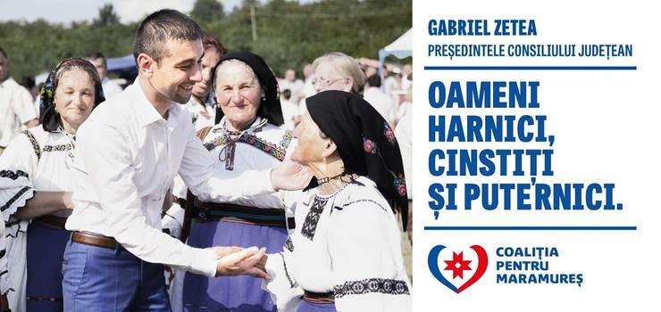 Sigla PSD nu se află pe afișele lui Gabriel Zetea, candidat la șefia CJ Maramureș (Sursa foto: Facebook/Gabriel Zetea)