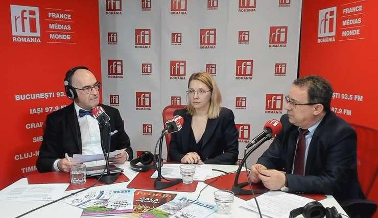 Sergiu Costache, Mihaela Circu și Dorel Duță in studioul RFI Romania