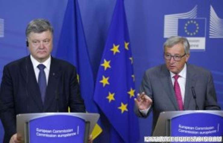 Petro Poroșenko alături de președintele Comisiei Europene, Jean-Claude Juncker