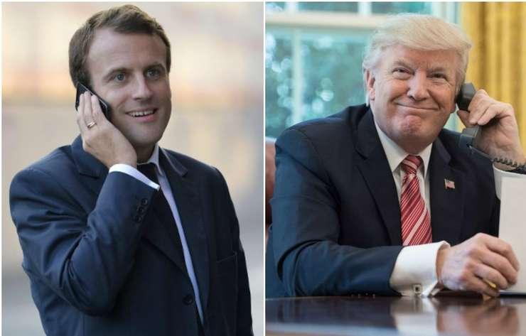 Emmanuel Macron, presedintele Frantei si Donald Trump, omologul sàu american