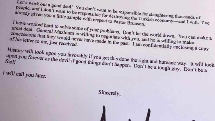 Scrisoarea lui Donald Trump càtre Recep Tayyip Erdogan