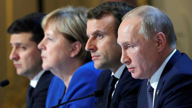 Formatul Normandia, de la stînga la dreapta: Volodimir Zelenski, Angela Merkel, Emmanuel Macron, Vladimir Putin