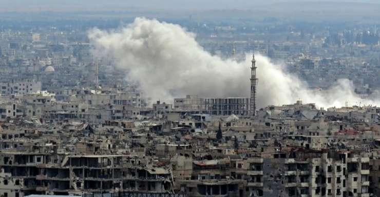 Un bombardament are loc în Ghouta orientala, Siria, 27 februarie 2018