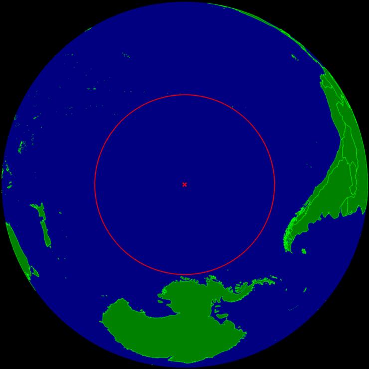 Locul ideal din Oceanul Pacific pentru prăbuşirea unor vehicule spaţiale (Sursă foto: Wikipedia)