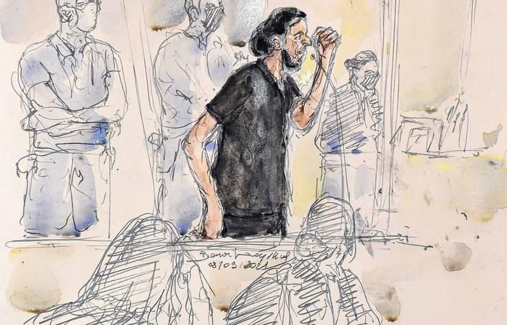 Unul din portretele lui Salah Abdeslam facut în timpul procesului atentatelor din 13 noiembrie 2015, Paris, Palatul de Justitie, septembrie 2021.
