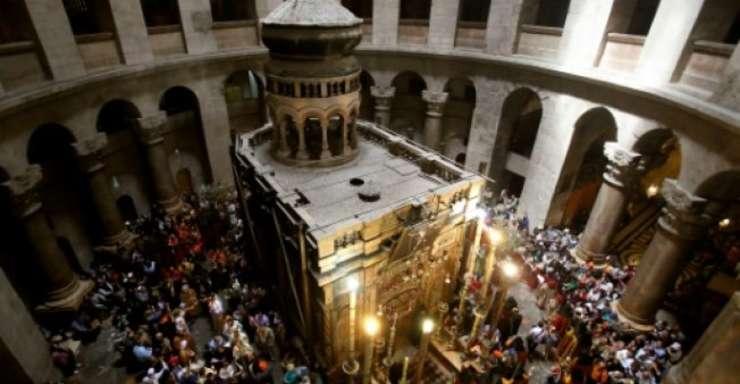 Vedere din interiorul Bisericii Sfantului Mormânt a lui Iisus Hristos, Ierusalim