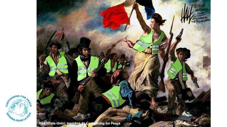 Vestele galbene, care manifesteaza în Franta din 17 noiembrie în fiecare sâmbata, intriga pe plan extern. Desenatorul american Hall vede o noua revolutie franceza.