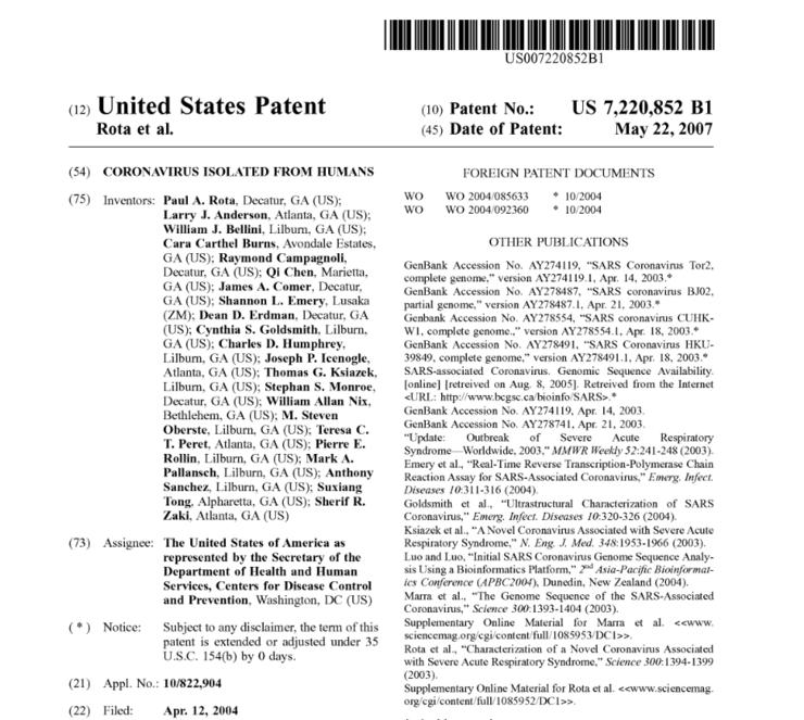 Extras din brevetul american privind coronavirusul SRAS din 2002-2003