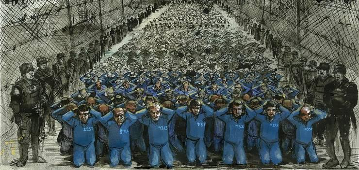 Paznici înconjoarà un numàr mare de prizonieri dintr-un lagàr de internare din Xinjiang.