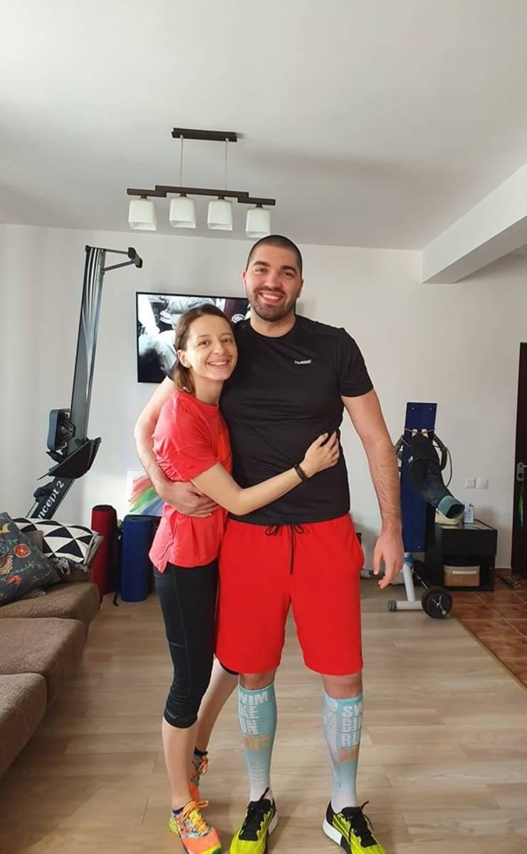 Ana Maria, alături de soțul său, Pavel, jucător profesionist de polo