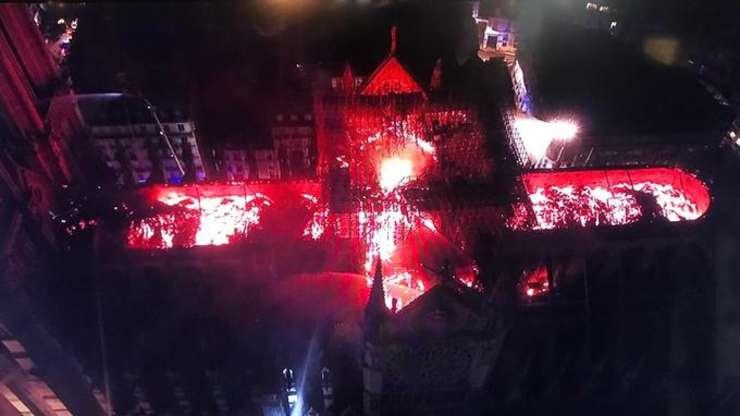 Catedrala Notre Dame în flacari.