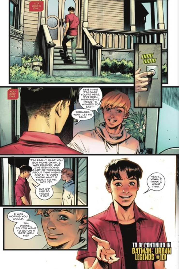 Scena în care Tim Drake - alias Robin - acceptà o întâlnire amoroasà cu un alt bàrbat, Bernard.