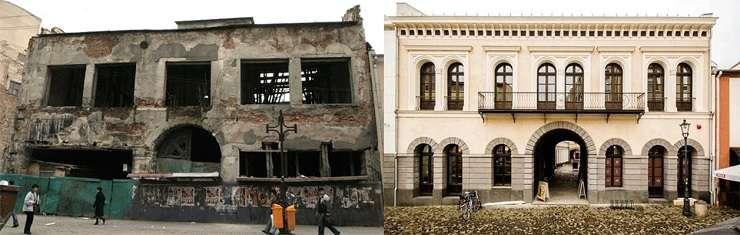 Hanul Gabroveni, înainte și după restaurare