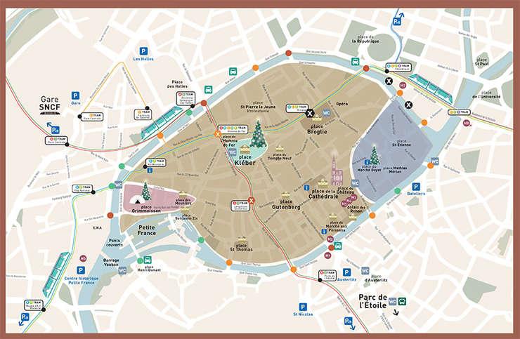 Harta zonei centrale a orasului Strasbourg asa cum a fost ea realizata de organizatorii Pietei de Craciun si postata pe site-ul acestui eveniment de anvergura.