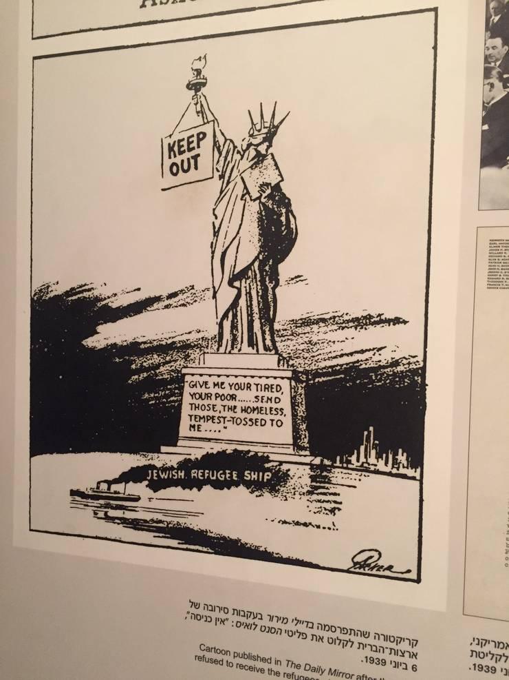 Caricatura cu Statuia Libertatii care refuza libertatea pentru evrei