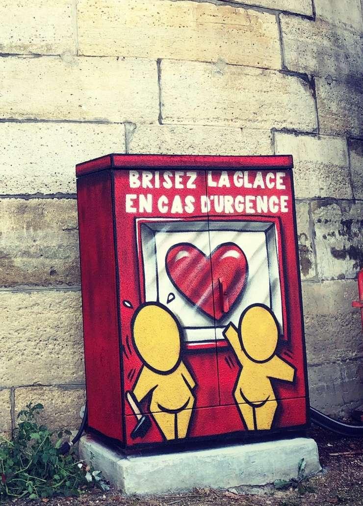 În timpul interviului, artistul francez JACE a realizat aceasta lucrare lânga ambarcatiunea care gazduieste Fluctuart Paris, pe cheiul Senei